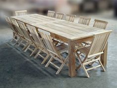 Reclaimed Teak Table Set with Shelia Folding Chairs