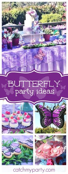 Take a look at this gorgeous butterfly 1st birthday garden party. The butterfly cookies are so cute!! See more party ideas and share yours at CatchMyParty.com