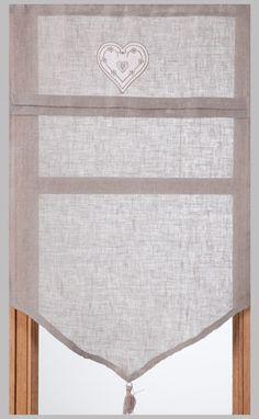 Brise-bise en lin gris brod� Coeur 45 x 70 cm immédiate 14.90€
