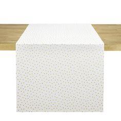 Chemin de table en coton blanc imprimé triangles dorés. Dimensions (cm) : H50 x L150