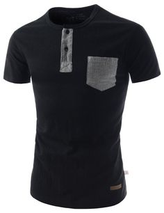 Mens Slim Fit Henley Neck Pocket Patch Soft Cotton Short Sleeve Tshirts   Amazon.com