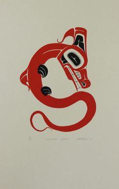 Lightning Snake - Limited Edition Serigraph by Art Thompson Snake Totem, Snake Art, Haida Kunst, Haida Art, Linocut Prints, Art Prints, Block Prints, Haida Tattoo, Native American Print