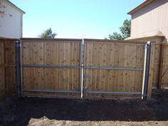 View wooden fences installed by Viking Fence in Austin, Texas. Interested in a wood fence or fencing materials? Fence Doors, Entrance Gates, Fence Gates, Side Gates, Wood Fences, Metal Gates, Wooden Gates, Chain Link Fence Gate, Driveway Gate