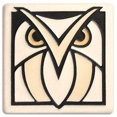 4x4 Owl - White Ceramic Art Tile