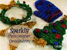 easy sparkly pipecleaner ornaments tutorial / Suzys Artsy Craftsy Sitcom