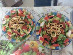 Salade saumon fumé, goberge et calmar grillé