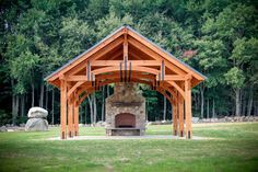 20' x 24' Alpine Timber Frame Pavilion with Hammer Beam Roof