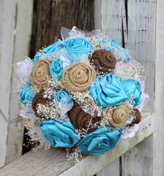 Rustic Turquoise Satin, Burlap and Lace Bridal Bouquet, babies breath, Fabric bouquet, Country, Wedding flowers, Turquoise Satin Bouquet by GypsyFarmGirl on Etsy