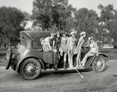"Washington, D.C., 1919. ""Mack Sennett girls."" Producer Mack Sennett's comedy reels featured a bevy of ""bathing beauties,"" among them Marvel Rea, seen here in the harlequin costume."