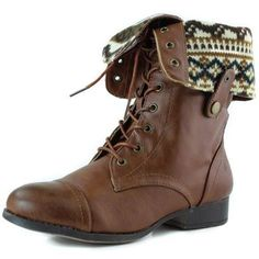 Women's Lace up Ankle Fold Over 2-way Round Toe Mid Calf Military Combat Boots Stylish Fashion Shoes