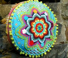 crocheted cushion..