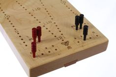 Tournament Cribbage Board, Premium Quality, 2 Player, Laser Engraved, Wooden Games, Solid Maple, Paul Szewc http://etsy.me/20mgDVE