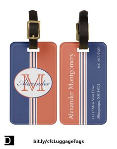 Display your colors with this luggage tag which features nautical navy blue, orange, and white stripes topped with an oval containing customizable text in two sizes and colors. The back of the tag has three customizable lines of text. A matching bag handle wrap is also available. #StudioDalio custom monogram travel accessories