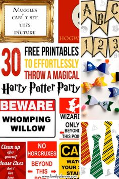30 Free Printables to effortlessly throw a magical Harry Potter Party and turn your home into Hogwarts: banner, flags, paper bows, signs. Harry Potter Groups, Harry Potter Banner, Harry Potter Free, Harry Potter Printables, Harry Potter Birthday, Hogwarts Sign, Welcome To Hogwarts, Party Printables, Free Printables