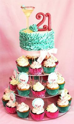 21st frilly ruffle cake/cupcake tower~for someone really nice who turned 21 recently~Happy Birthday Year~:)