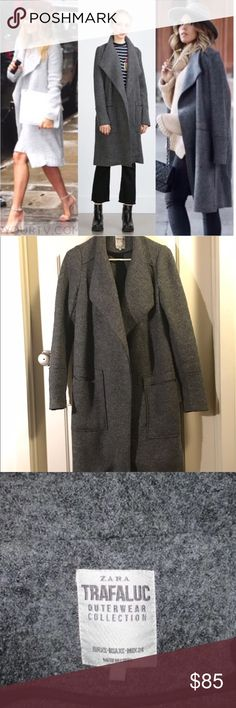 Zara Long Gray Coat GREAT condition! it's just a little big on me. see pictures LC is wearing the same coat in a different color. 52% wool, 49% viscose. Will keep you warm and fuzzy! Zara Jackets & Coats Pea Coats