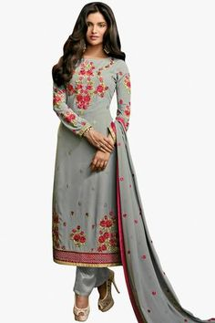 Grey Colored Superb Designer Embroidered Suit In Faux Georgette