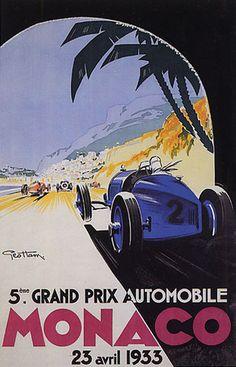 1933 MONACO GRAND PRIX CAR RACE MONTE CARLO FINE LARGE VINTAGE POSTER REPRO | eBay