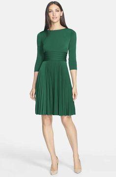 Eliza J Pleated Jersey Fit & Flare Dress