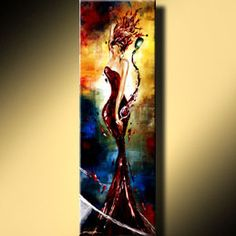 RED SEXY WOMAN WINE ART GICLEE OF LEANNE LAINE PAINTING