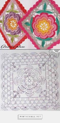 - created on Poncho Au Crochet, Crochet Quilt, Crochet Blocks, Crochet Mandala, Crochet Art, Crochet Motif, Granny Square Crochet Pattern, Crochet Diagram, Crochet Stitches Patterns