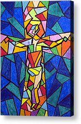 Cross Canvas Paintings Heart | Blue Cross Painting Canvas Prints - On The Cross Canvas Print by ...
