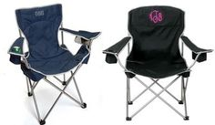 Monogrammed folding chair. Perfect for games or dare I say, CAMPING (maybe this will make me want to go, maybe?)!
