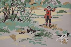 1950's Vintage Wallpaper Wild Game Hunter Bird Dog