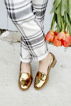 25 Ways to Wear Metallic Flats - plaid pants + gold metallic loafers | StyleCaster. I would love these for work!