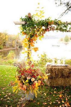 rustic country fall wedding arch / http://www.himisspuff.com/fall-wedding-arch-and-altar-ideas/5/
