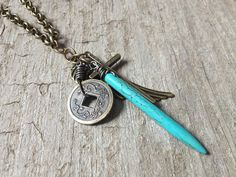Men's Necklace - Turquoise Spike, Chinese Coin, Antique Brass Horn & Angel Wing - Bohemian Jewelry on Etsy, $41.00 CAD