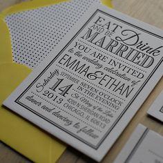letterpress wedding invitations, yellow and black invitation, black and white invitation, polka dot wedding invitation, eat drink and be married wedding invitation