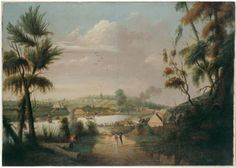 A direct north general view of Sydney Cove, possibly by Thomas Watling, oil painting - A collection item from the State Library of New South Wales Van Diemen's Land, First Fleet, Terra Australis, Aboriginal History, Colonial Art, Historical Images, First Contact, Australian Artists, Vacation Places