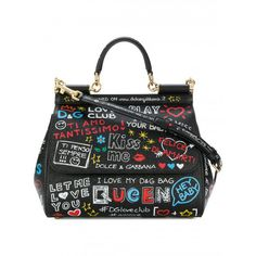 Dolce & Gabbana Murales Print Miss Sicily Leather Shoulder Bag ($2,475) ❤ liked on Polyvore featuring bags, handbags, shoulder bags, tote handbags, top handle bags, shoulder bag tote, top handle handbags and leather tote purse