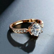 Unique Jewelry - 18K Rose Gold Plated 1.75CT Swarovski Diamond Fiancee Ring Engagement Promise