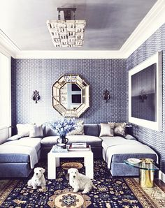 monochromatic Luxe family room
