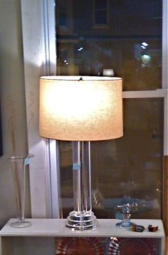 """#midcenturymodern 70's Lucite Lamp 36"""" tall, with slik #style for your #abode offered at $395 @AvenueAntiques"""