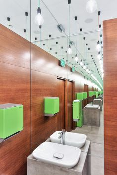 Italian restaurant, toilet, mirror on ceiling, wooden in bathroom, pikstudio design, cable power lamps