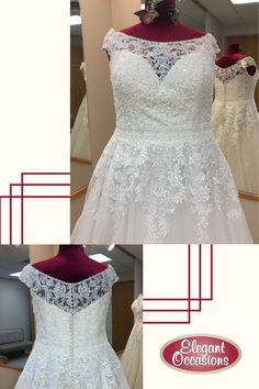 Plus Size Lace & Net A Line Wedding Dress with Shoulder-Tip Illusion Neckline Bridal Gowns, Wedding Gowns, Tuxedo Styles, Tuxedo Dress, Bridal Show, Bridal Suite, Illusion Neckline, Yes To The Dress, Plus Size Wedding