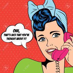 Mujer Hablando Por Teléfono, Ejemplo Del Arte Pop En Formato Vectorial Ilustraciones Vectoriales, Clip Art Vectorizado Libre De Derechos. Pic 26367002.