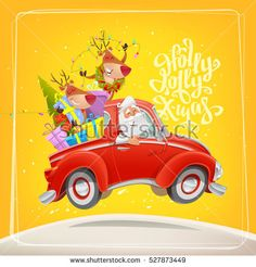 Santa Claus with reindeer in car. Party car. Holly Jolly Xmas vector card.  Modern Typography design for decoration Christmas card poster template Holiday Greeting invitation