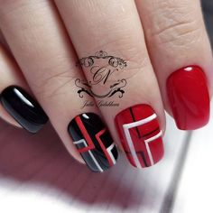 On average, the finger nails grow from 3 to millimeters per month. If it is difficult to change their growth rate, however, it is possible to cheat on their appearance and length through false nails. Plaid Nail Art, Plaid Nails, Red Nails, Hair And Nails, Fancy Nails, Pretty Nails, Nagellack Design, Geometric Nail Art, Nail Art Galleries