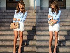 Bien porter une chemise a la mode chemise en denim jupe dentelle