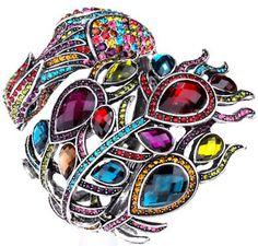Multi swarovski crystal peacock cuff bracelet jewelry 2