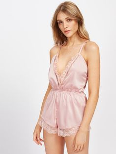b1b3081ce9a SHEIN offers Ladder Lace Insert Surplice Front Crisscross Sleep Romper    more to fit your fashionable needs.