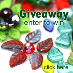 czech glass beads leaves giveway