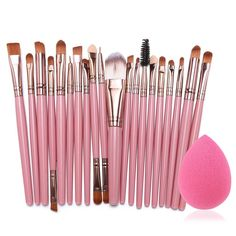 Eshion 15 Colors Makeup Cosmetic Face Cream Concealer Palette   70 PCS Brushes Kit Set   Face Power Puff Sponge (Pink 2) >>> To view further, visit now : Makeup brushes