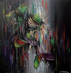 """Flying Sparrows By Helen Leigh  Abstract Expressionist-Drip Painting (style)  Materials:  Acrylic and Metallic Paint on Canvas  LARGE 90cm x 60cm x 3.5cm (24"""" x 36"""") - Exhibition Grade Canvas."""