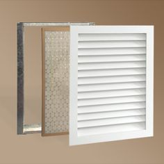 """Wooden HVAC return grilles from Worth Home products.  They have a stainable version, too.  Keeps your old house looking old without those nasty """"modern"""" return grates."""