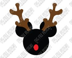 Mickey Mouse Reindeer Christmas SVG Cut File Set for Custom Disney Christmas Shirts in SVG, EPS, DXF, JPEG, & PNG for Cricut and Silhouette